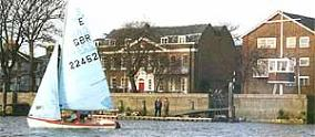 View of Linden House from the river. Ours is the red fromt door. Note also the hexagonal starting box on the right.